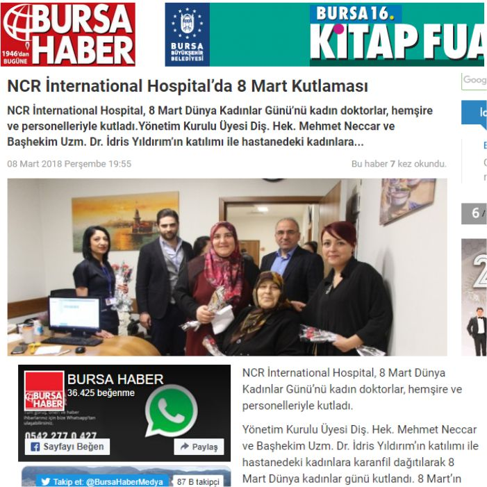 NCR İnternational Hospital'da 8 Mart Kutlaması